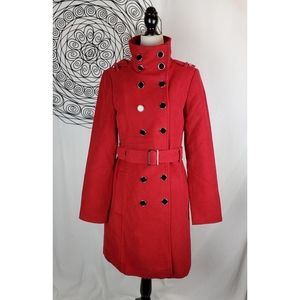 LE CHATEAU 3/4 Length Funnel Neck Dressy Pea Coat